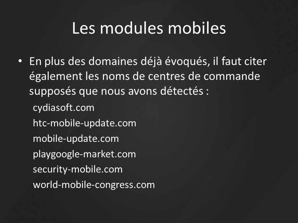 Les modules mobiles En plus des domaines déjà évoqués, il faut citer également les noms de centres de commande supposés que nous avons détectés : cydi