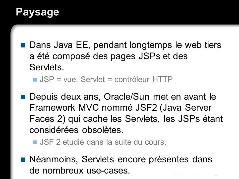 Paysage Dans Java EE, pendant longtemps le web tiers a été composé des pages JSPs et des Servlets. JSP = vue, Servlet = contrôleur HTTP Depuis deux an