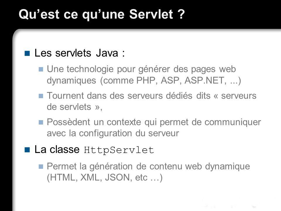 Quest ce quune Servlet ? Les servlets Java : Une technologie pour générer des pages web dynamiques (comme PHP, ASP, ASP.NET,...) Tournent dans des ser