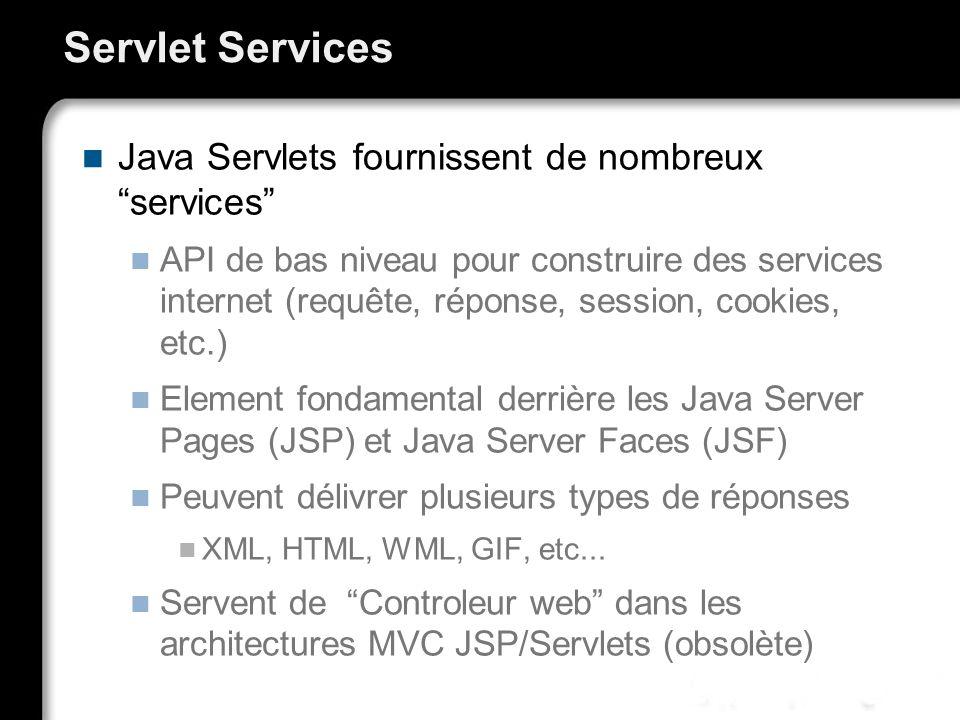 Servlet Services Java Servlets fournissent de nombreux services API de bas niveau pour construire des services internet (requête, réponse, session, cookies, etc.) Element fondamental derrière les Java Server Pages (JSP) et Java Server Faces (JSF) Peuvent délivrer plusieurs types de réponses XML, HTML, WML, GIF, etc...