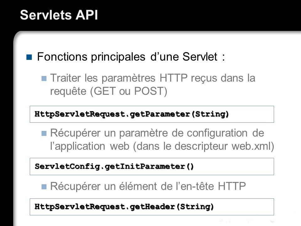 Servlets API Fonctions principales dune Servlet : Traiter les paramètres HTTP reçus dans la requête (GET ou POST) Récupérer un paramètre de configuration de lapplication web (dans le descripteur web.xml) Récupérer un élément de len-tête HTTP HttpServletRequest.getParameter(String) ServletConfig.getInitParameter() HttpServletRequest.getHeader(String)