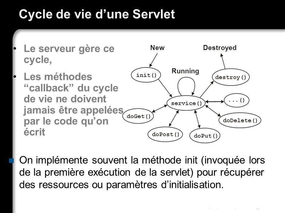 Cycle de vie dune Servlet On implémente souvent la méthode init (invoquée lors de la première exécution de la servlet) pour récupérer des ressources ou paramètres dinitialisation.