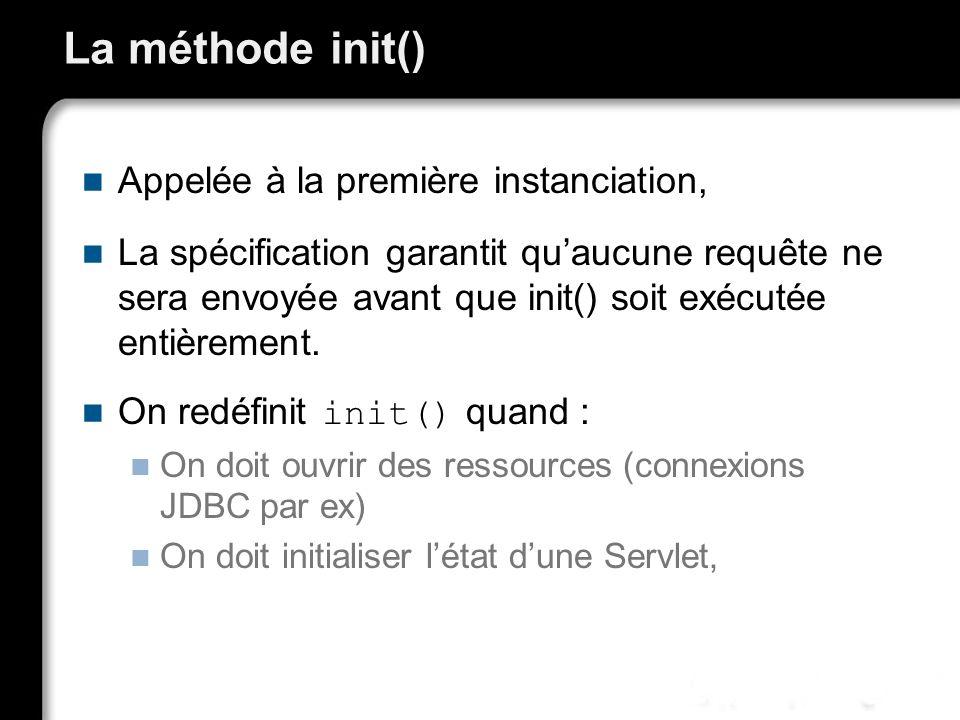 La méthode init() Appelée à la première instanciation, La spécification garantit quaucune requête ne sera envoyée avant que init() soit exécutée entièrement.