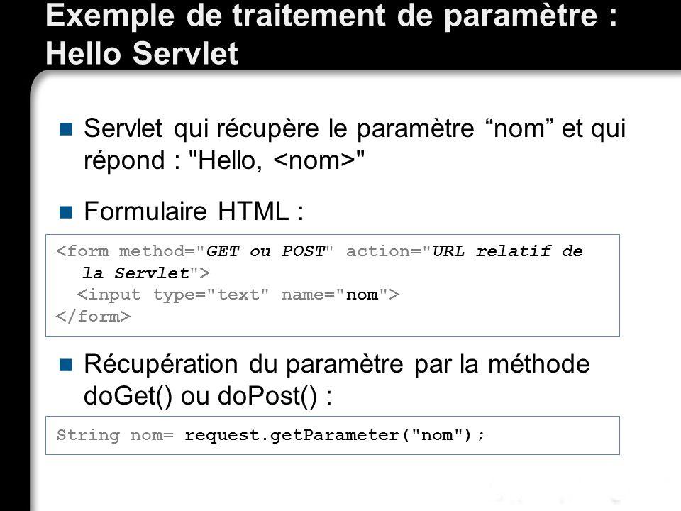 Exemple de traitement de paramètre : Hello Servlet Servlet qui récupère le paramètre nom et qui répond : Hello, Formulaire HTML : Récupération du paramètre par la méthode doGet() ou doPost() : String nom= request.getParameter( nom );