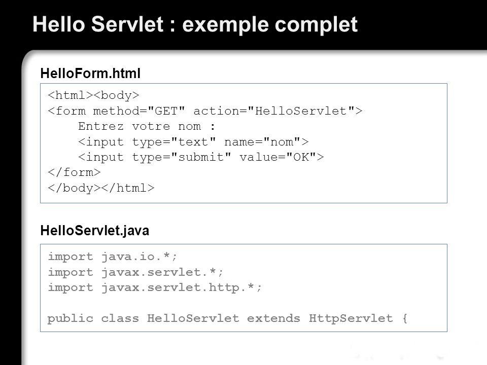 Hello Servlet : exemple complet Entrez votre nom : HelloForm.html import java.io.*; import javax.servlet.*; import javax.servlet.http.*; public class