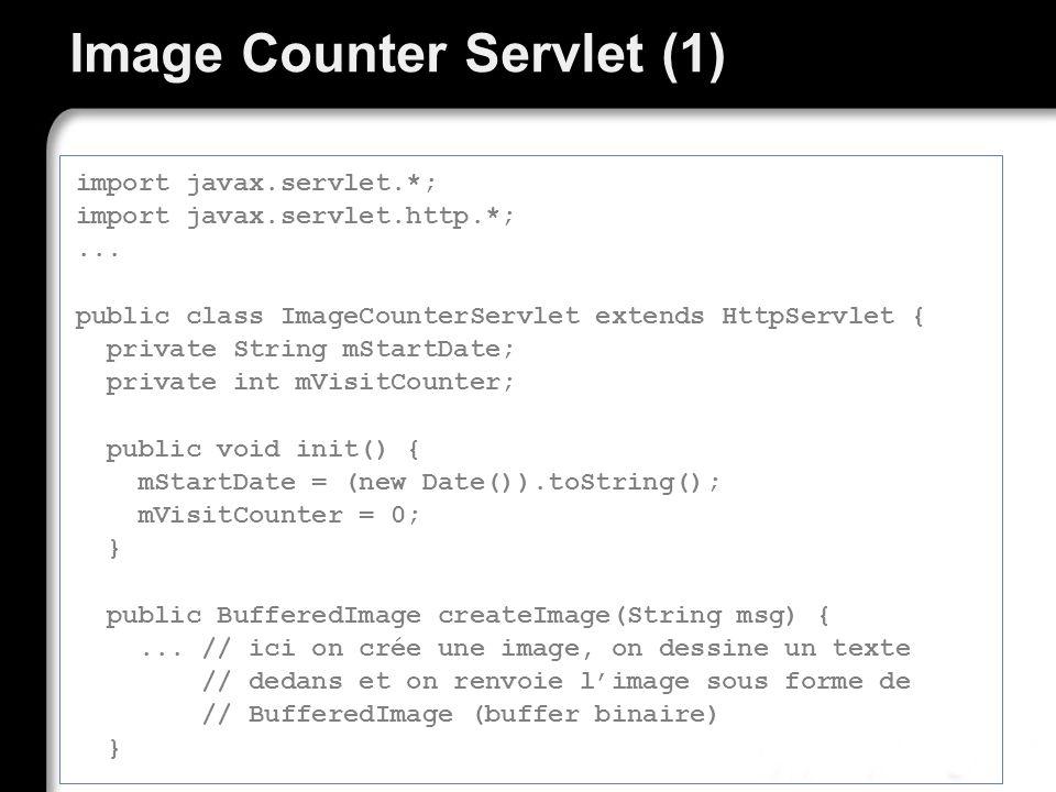 Image Counter Servlet (1) import javax.servlet.*; import javax.servlet.http.*;... public class ImageCounterServlet extends HttpServlet { private Strin