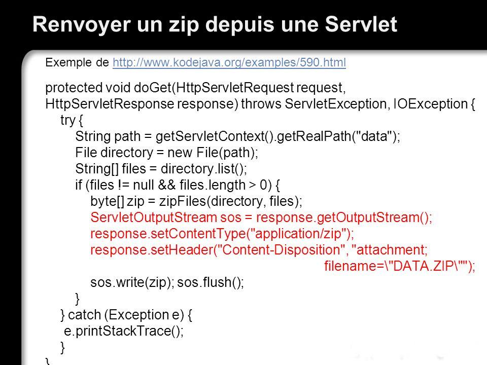 Renvoyer un zip depuis une Servlet Exemple de http://www.kodejava.org/examples/590.htmlhttp://www.kodejava.org/examples/590.html protected void doGet(