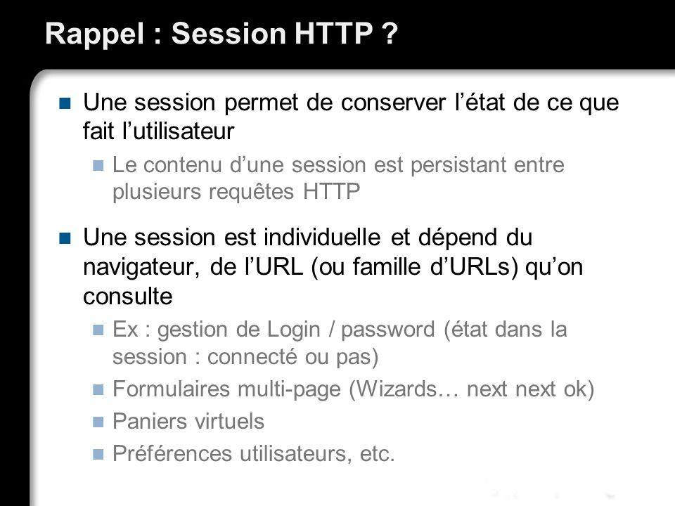 Rappel : Session HTTP ? Une session permet de conserver létat de ce que fait lutilisateur Le contenu dune session est persistant entre plusieurs requê