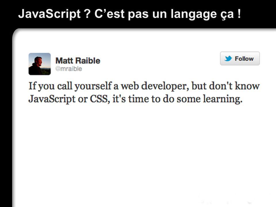 JavaScript ? Cest pas un langage ça !