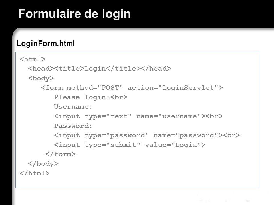 Formulaire de login Login Please login: Username: Password: LoginForm.html