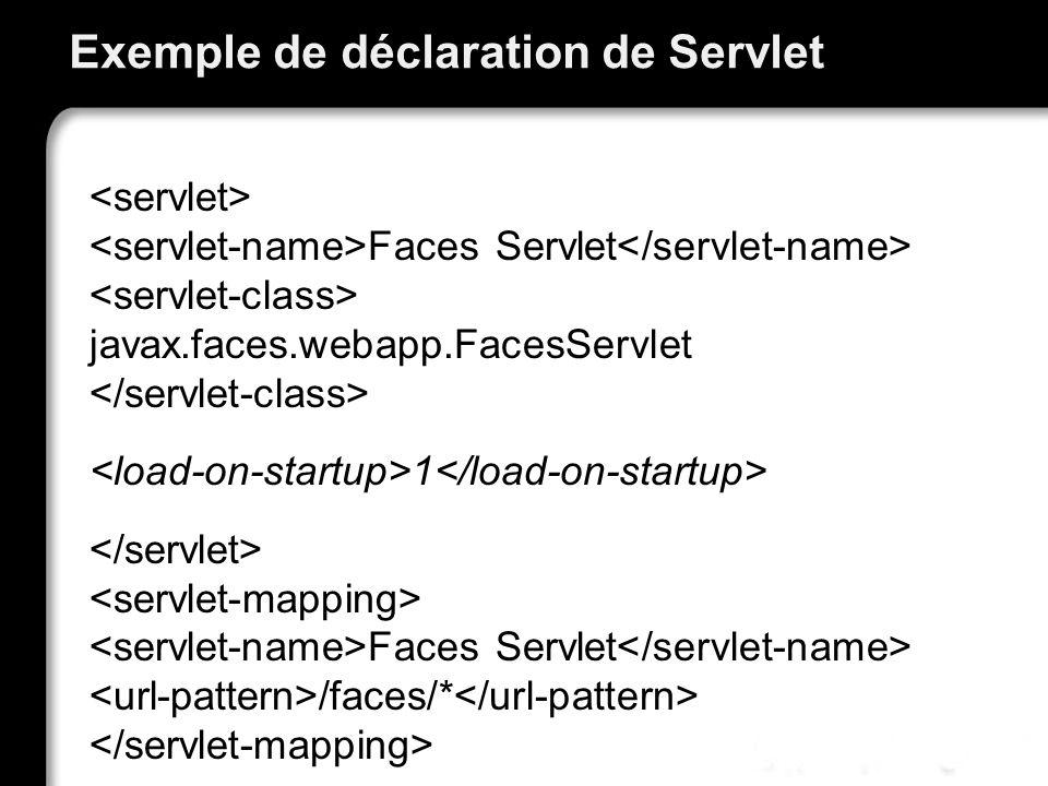 Exemple de déclaration de Servlet Faces Servlet javax.faces.webapp.FacesServlet 1 Faces Servlet /faces/*