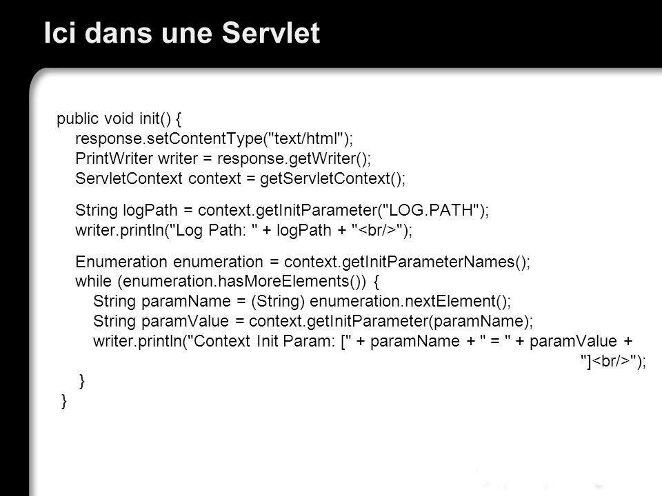 Ici dans une Servlet public void init() { response.setContentType(