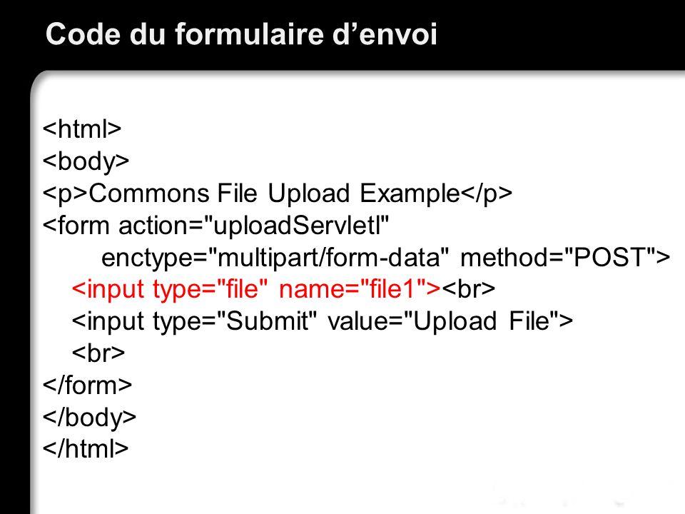 Code du formulaire denvoi Commons File Upload Example