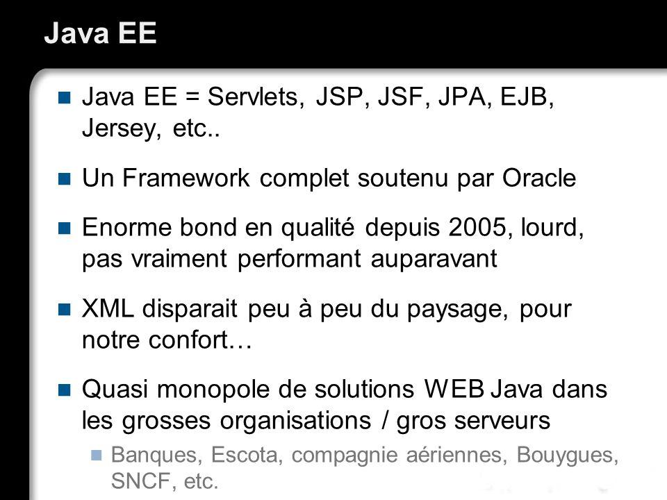 Java EE Java EE = Servlets, JSP, JSF, JPA, EJB, Jersey, etc.. Un Framework complet soutenu par Oracle Enorme bond en qualité depuis 2005, lourd, pas v