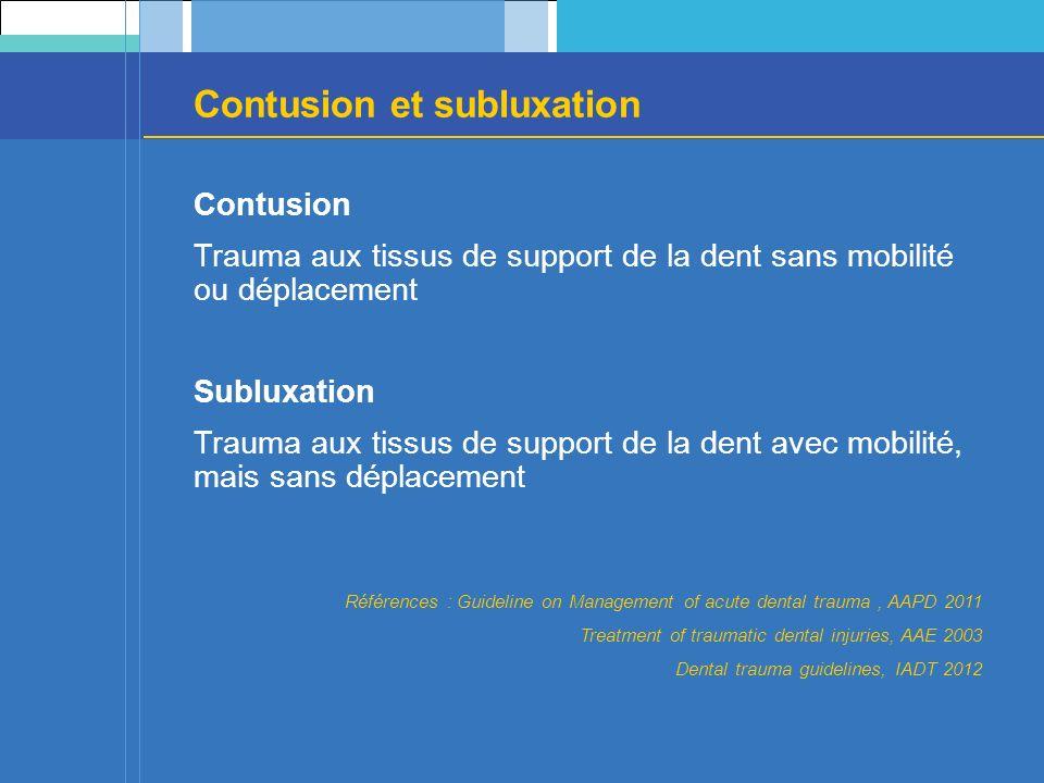 Contusion et subluxation Contusion Trauma aux tissus de support de la dent sans mobilité ou déplacement Subluxation Trauma aux tissus de support de la