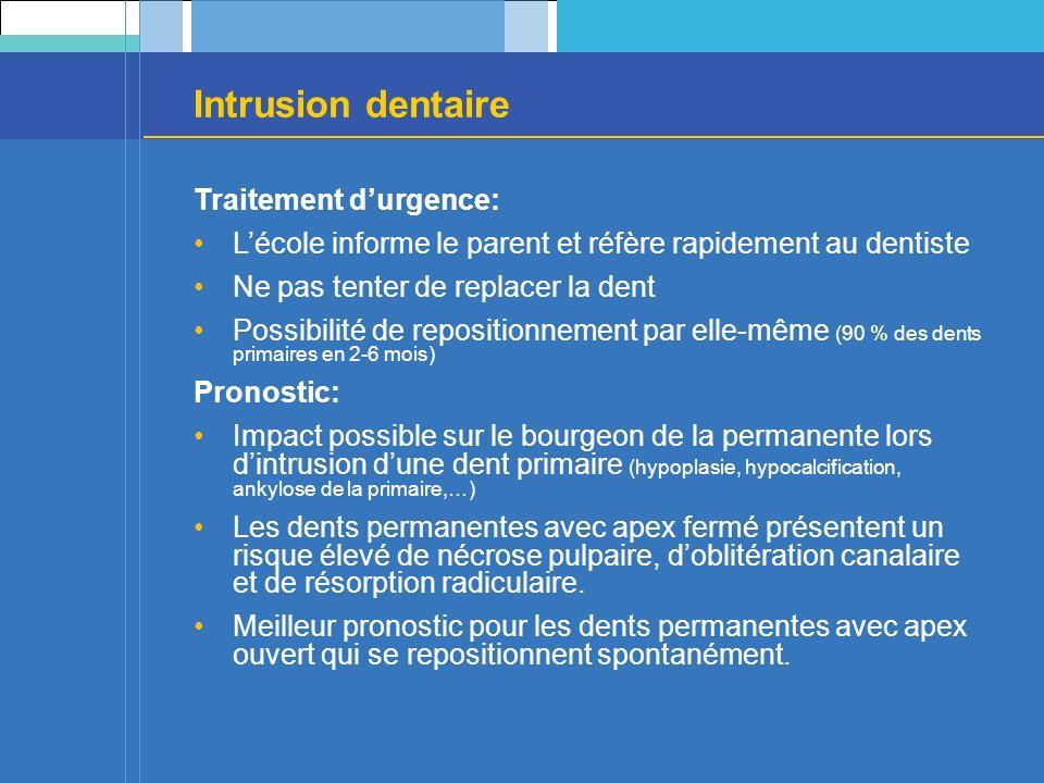 Intrusion dentaire Traitement durgence: Lécole informe le parent et réfère rapidement au dentiste Ne pas tenter de replacer la dent Possibilité de repositionnement par elle-même (90 % des dents primaires en 2-6 mois) Pronostic: Impact possible sur le bourgeon de la permanente lors dintrusion dune dent primaire (hypoplasie, hypocalcification, ankylose de la primaire,…) Les dents permanentes avec apex fermé présentent un risque élevé de nécrose pulpaire, doblitération canalaire et de résorption radiculaire.