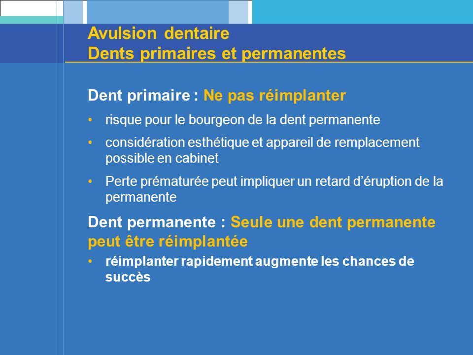 Avulsion dentaire Dents primaires et permanentes Dent primaire : Ne pas réimplanter risque pour le bourgeon de la dent permanente considération esthét