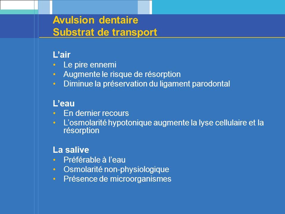 Avulsion dentaire Substrat de transport Lair Le pire ennemi Augmente le risque de résorption Diminue la préservation du ligament parodontal Leau En de