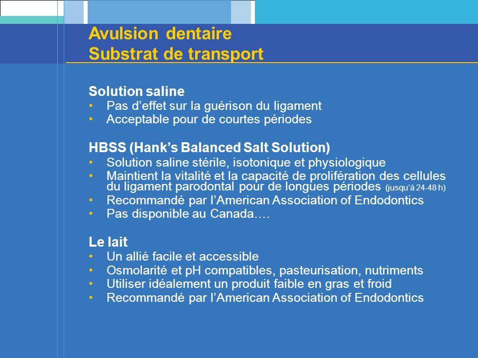 Avulsion dentaire Substrat de transport Solution saline Pas deffet sur la guérison du ligament Acceptable pour de courtes périodes HBSS (Hanks Balance