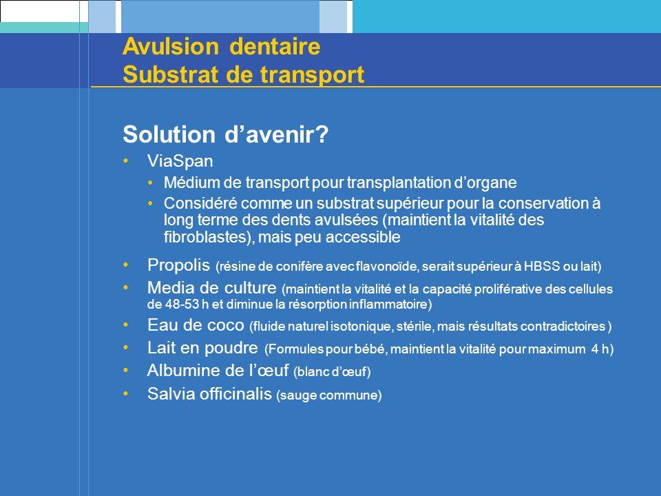 Avulsion dentaire Substrat de transport Solution davenir? ViaSpan Médium de transport pour transplantation dorgane Considéré comme un substrat supérie