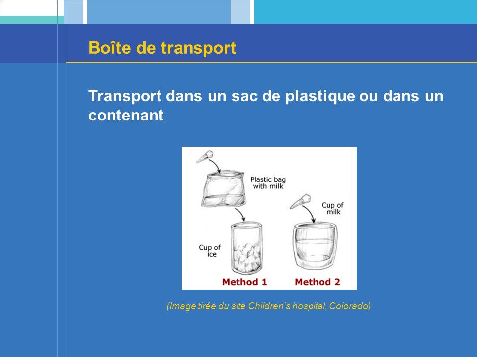 Boîte de transport Transport dans un sac de plastique ou dans un contenant (Image tirée du site Childrens hospital, Colorado)