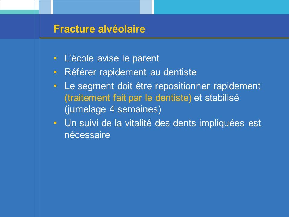 Fracture alvéolaire Lécole avise le parent Référer rapidement au dentiste Le segment doit être repositionner rapidement (traitement fait par le dentiste) et stabilisé (jumelage 4 semaines) Un suivi de la vitalité des dents impliquées est nécessaire