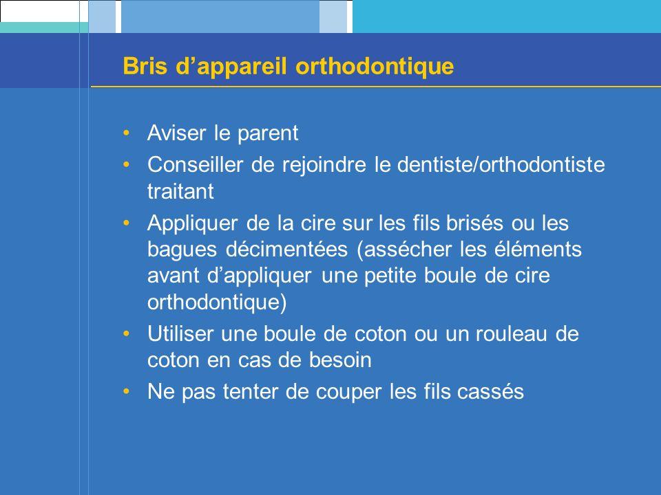 Bris dappareil orthodontique Aviser le parent Conseiller de rejoindre le dentiste/orthodontiste traitant Appliquer de la cire sur les fils brisés ou l
