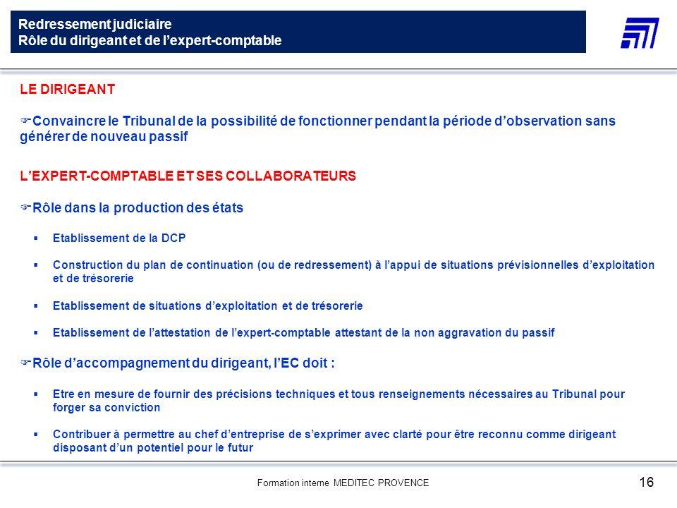 Formation interne MEDITEC PROVENCE 16 Redressement judiciaire Rôle du dirigeant et de lexpert-comptable LE DIRIGEANT Convaincre le Tribunal de la poss