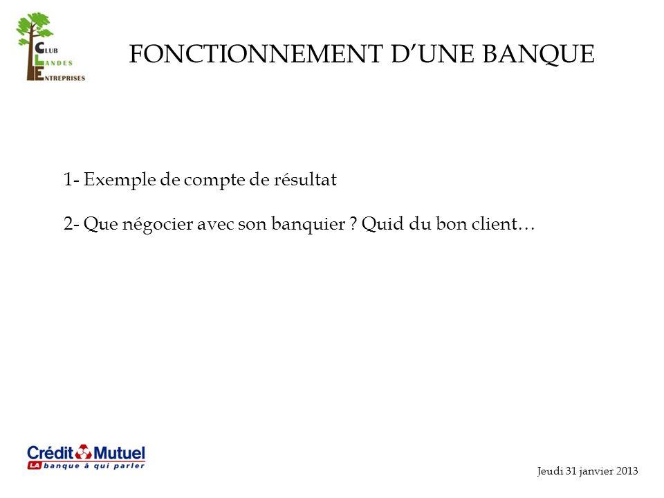 Jeudi 31 janvier 2013 FONCTIONNEMENT DUNE BANQUE 1- Exemple de compte de résultat 2- Que négocier avec son banquier .