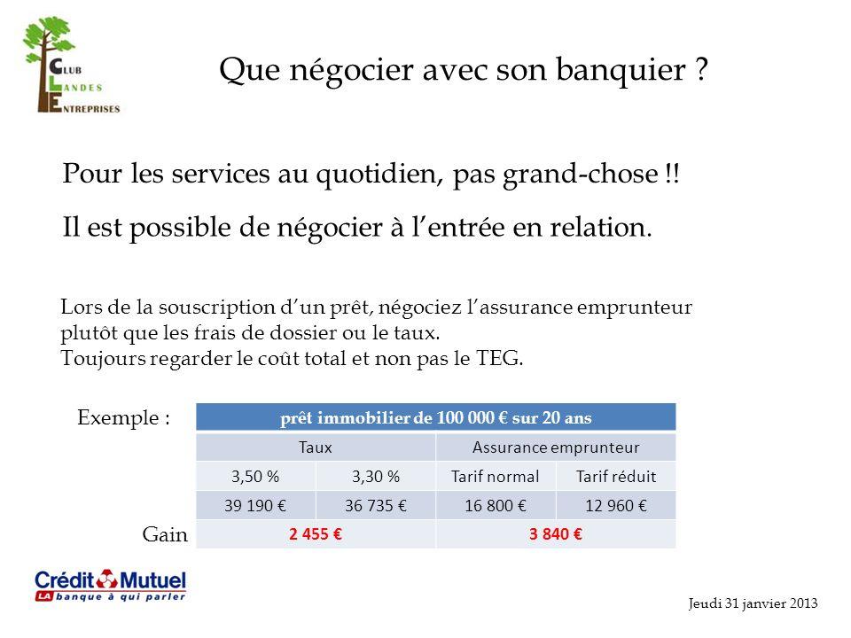 Jeudi 31 janvier 2013 Que négocier avec son banquier ? Pour les services au quotidien, pas grand-chose !! Il est possible de négocier à lentrée en rel