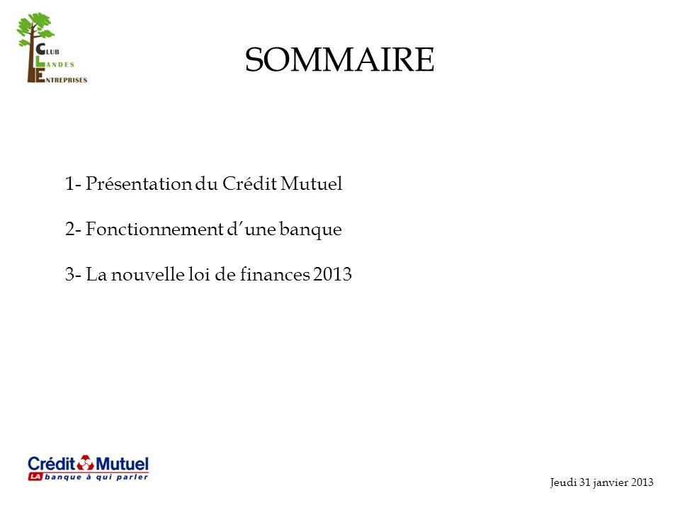 Jeudi 31 janvier 2013 SOMMAIRE 1- Présentation du Crédit Mutuel 2- Fonctionnement dune banque 3- La nouvelle loi de finances 2013