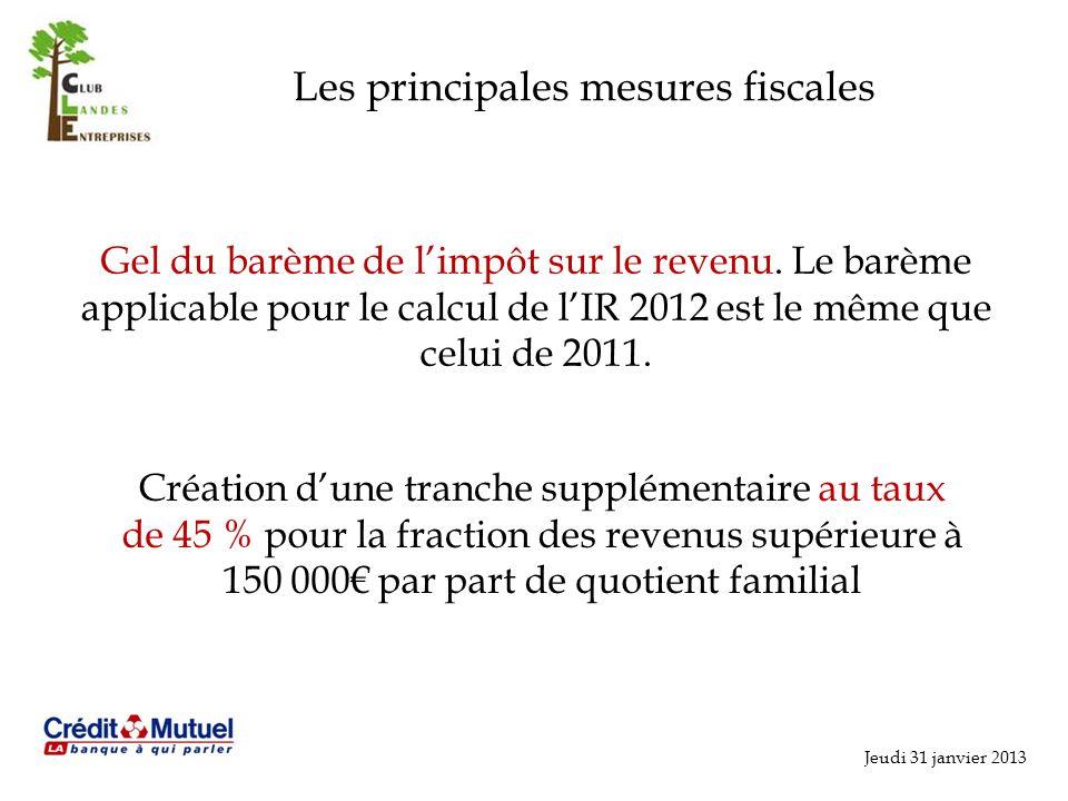 Les principales mesures fiscales Gel du barème de limpôt sur le revenu.