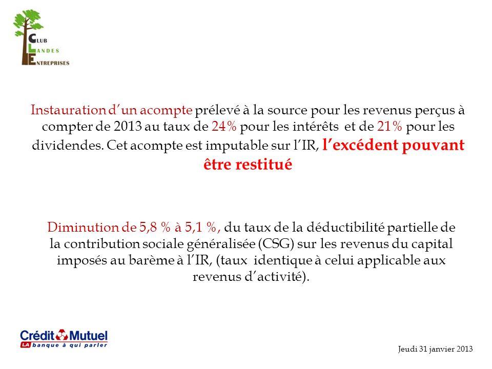 Jeudi 31 janvier 2013 Instauration dun acompte prélevé à la source pour les revenus perçus à compter de 2013 au taux de 24% pour les intérêts et de 21% pour les dividendes.