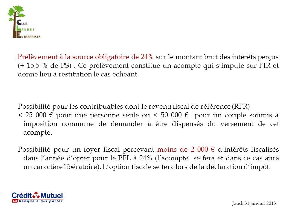 Jeudi 31 janvier 2013 Prélèvement à la source obligatoire de 24% sur le montant brut des intérêts perçus (+ 15,5 % de PS).