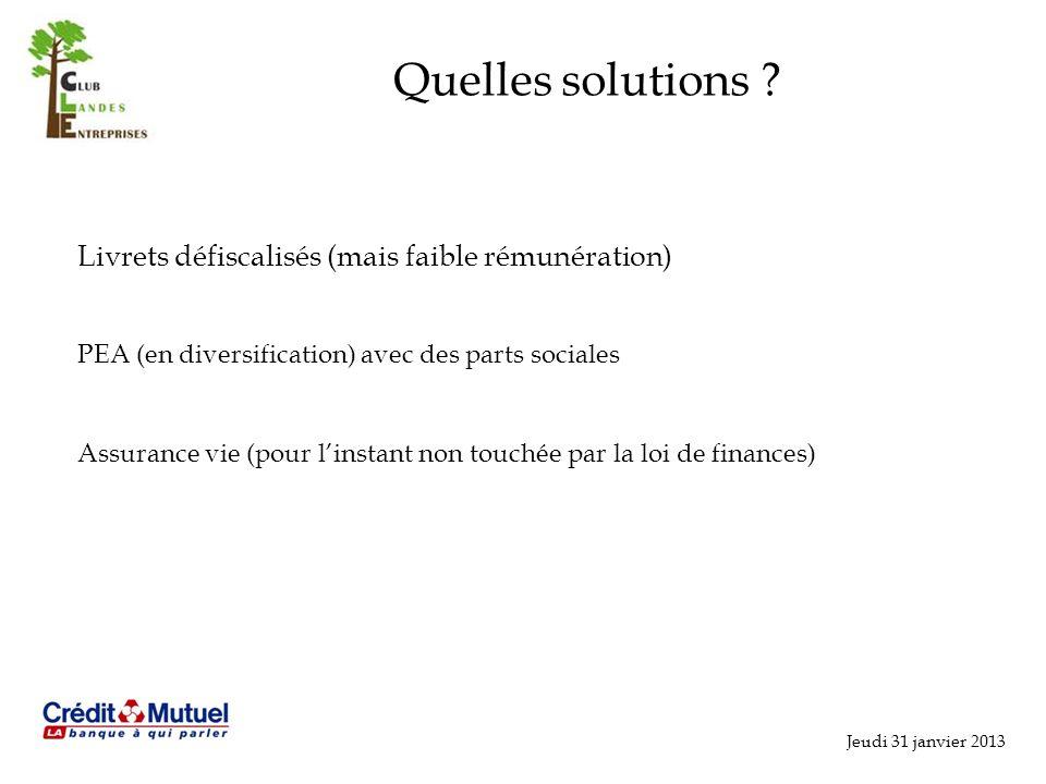 Jeudi 31 janvier 2013 Quelles solutions .