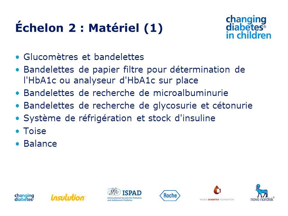 Échelon 2 : Matériel (1) Glucomètres et bandelettes Bandelettes de papier filtre pour détermination de l'HbA1c ou analyseur d'HbA1c sur place Bandelet