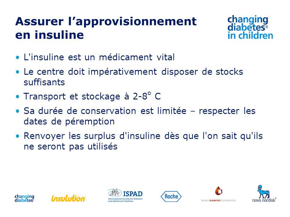 Assurer lapprovisionnement en insuline L'insuline est un médicament vital Le centre doit impérativement disposer de stocks suffisants Transport et sto