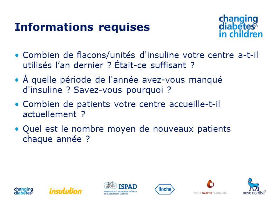 Informations requises Combien de flacons/unités d'insuline votre centre a-t-il utilisés lan dernier ? Était-ce suffisant ? À quelle période de l'année