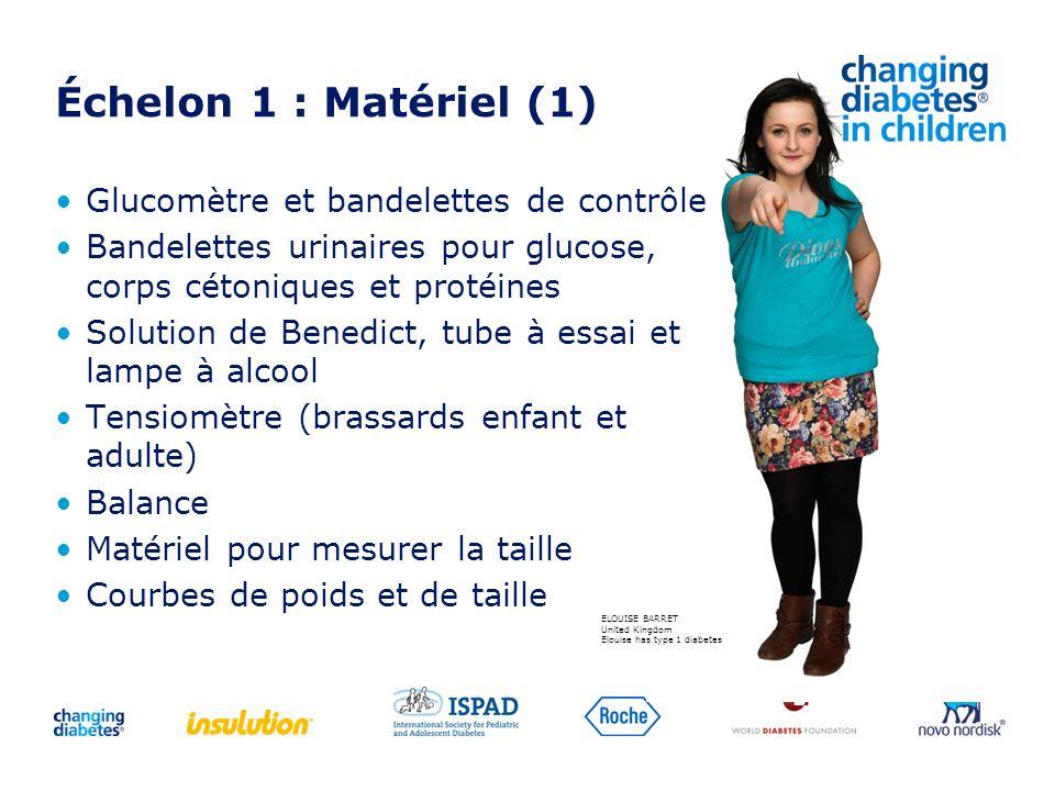 Échelon 1 : Matériel (1) Glucomètre et bandelettes de contrôle Bandelettes urinaires pour glucose, corps cétoniques et protéines Solution de Benedict,