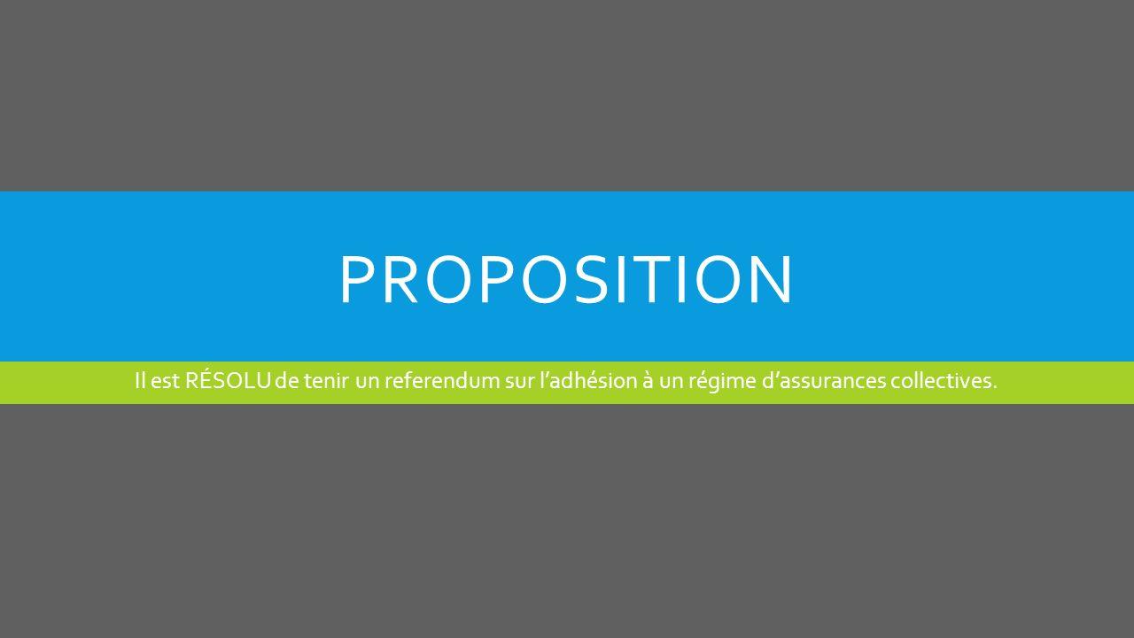 PROPOSITION Il est RÉSOLU de tenir un referendum sur ladhésion à un régime dassurances collectives.