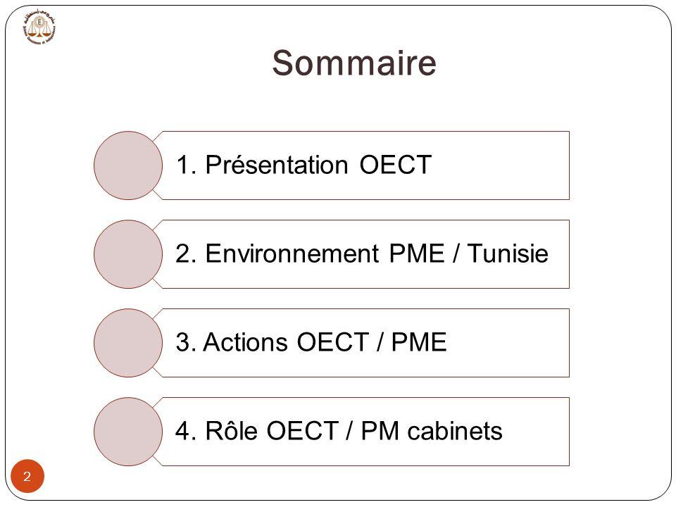 Sommaire 2 1. Présentation OECT 2. Environnement PME / Tunisie 3. Actions OECT / PME 4. Rôle OECT / PM cabinets