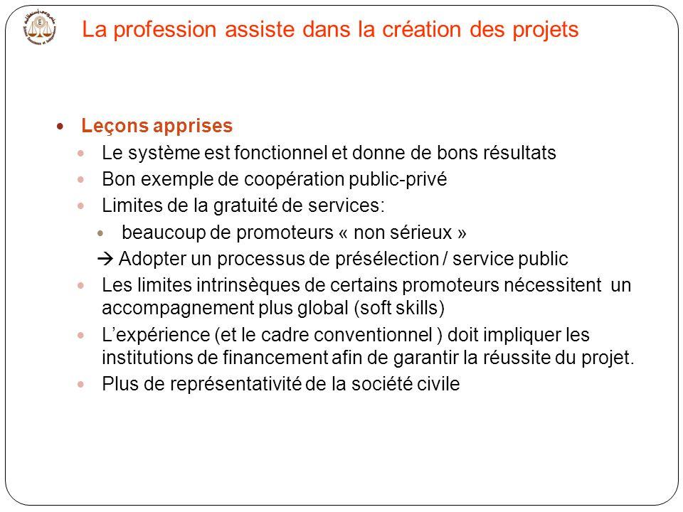 La profession assiste dans la création des projets Leçons apprises Le système est fonctionnel et donne de bons résultats Bon exemple de coopération pu