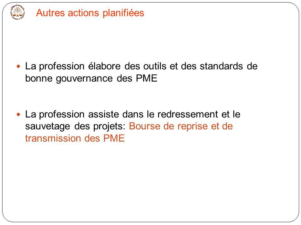 La profession élabore des outils et des standards de bonne gouvernance des PME La profession assiste dans le redressement et le sauvetage des projets: