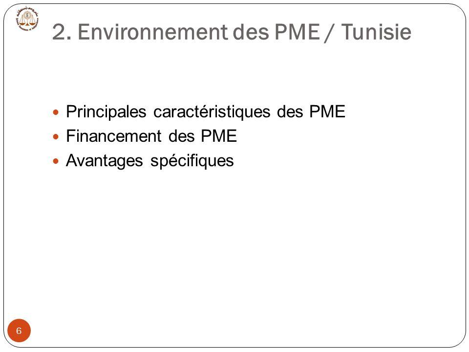 2. Environnement des PME / Tunisie 6 Principales caractéristiques des PME Financement des PME Avantages spécifiques