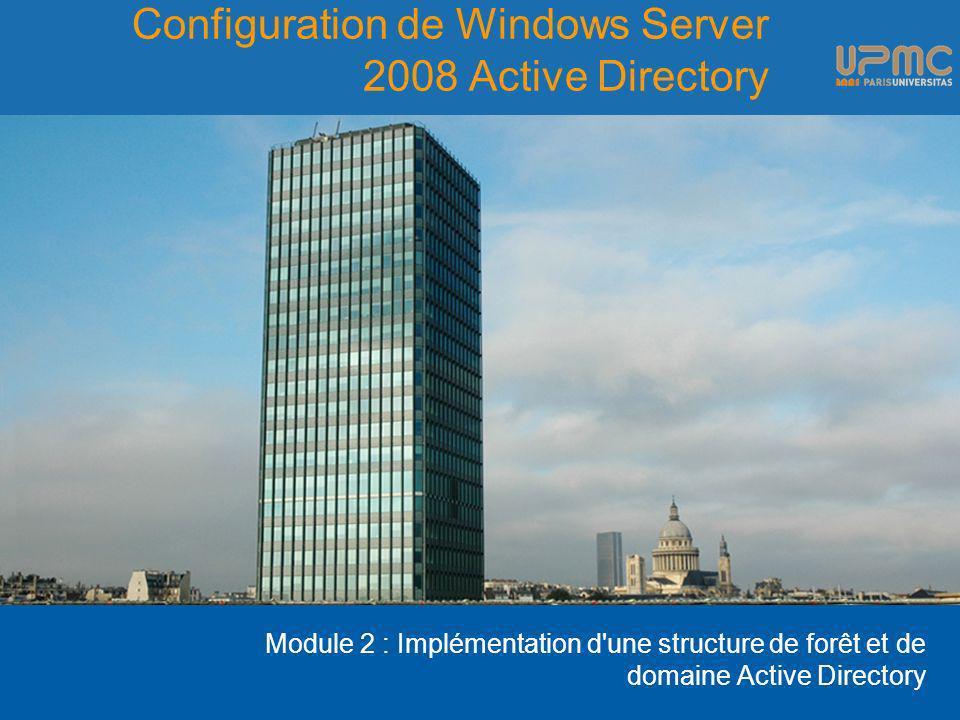 Configuration de Windows Server 2008 Active Directory Module 2 : Implémentation d'une structure de forêt et de domaine Active Directory