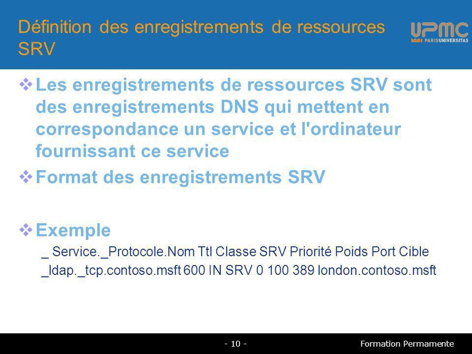 Définition des enregistrements de ressources SRV Les enregistrements de ressources SRV sont des enregistrements DNS qui mettent en correspondance un service et l ordinateur fournissant ce service Format des enregistrements SRV Exemple _ Service._Protocole.Nom Ttl Classe SRV Priorité Poids Port Cible _ldap._tcp.contoso.msft 600 IN SRV 0 100 389 london.contoso.msft - 10 -Formation Permamente