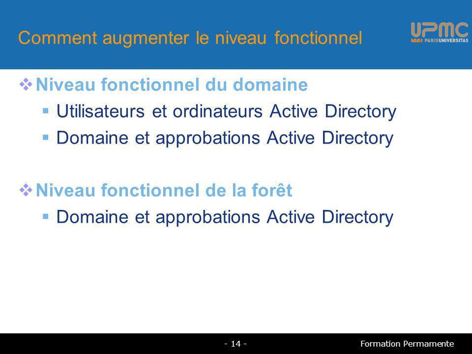 Comment augmenter le niveau fonctionnel Niveau fonctionnel du domaine Utilisateurs et ordinateurs Active Directory Domaine et approbations Active Dire