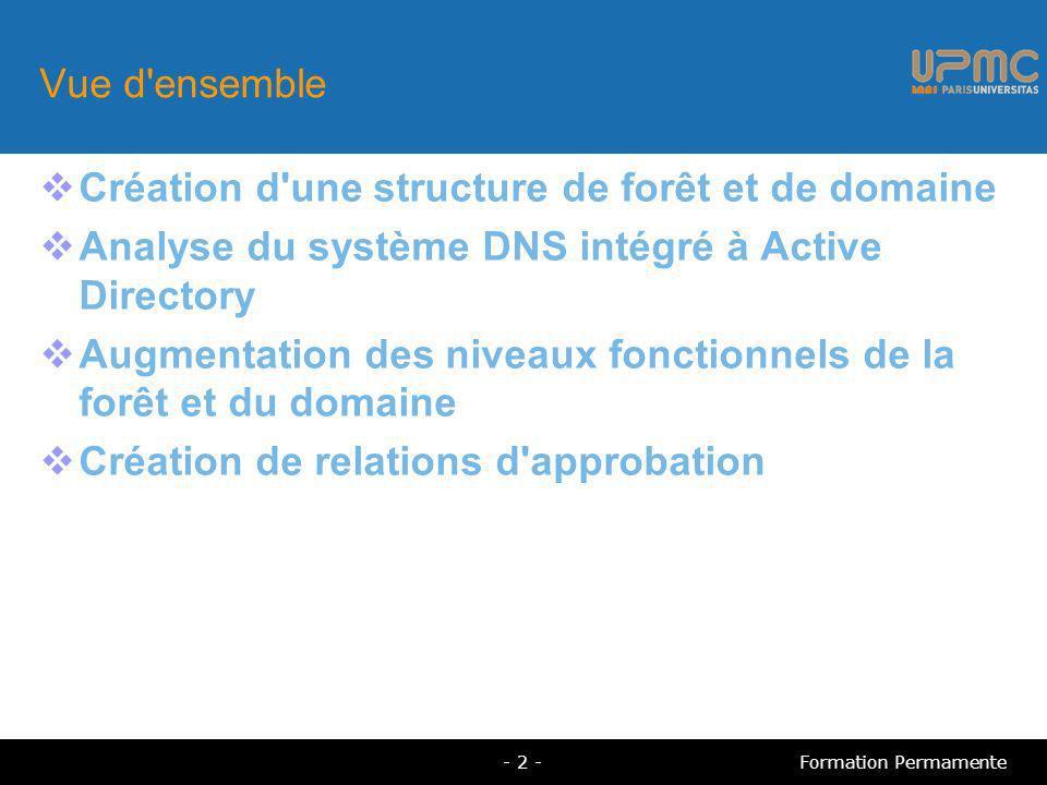 Vue d ensemble Création d une structure de forêt et de domaine Analyse du système DNS intégré à Active Directory Augmentation des niveaux fonctionnels de la forêt et du domaine Création de relations d approbation - 2 -Formation Permamente