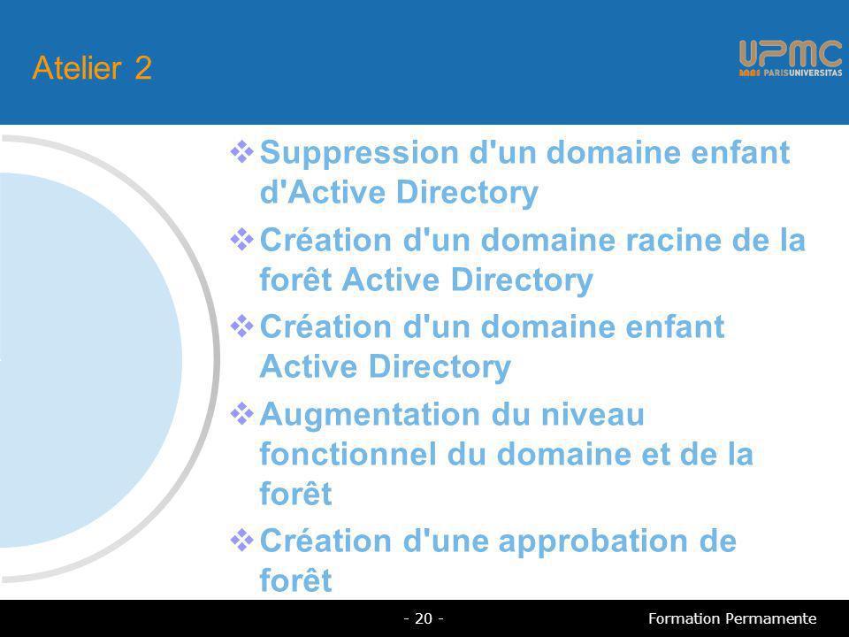 Atelier 2 Suppression d un domaine enfant d Active Directory Création d un domaine racine de la forêt Active Directory Création d un domaine enfant Active Directory Augmentation du niveau fonctionnel du domaine et de la forêt Création d une approbation de forêt - 20 -Formation Permamente