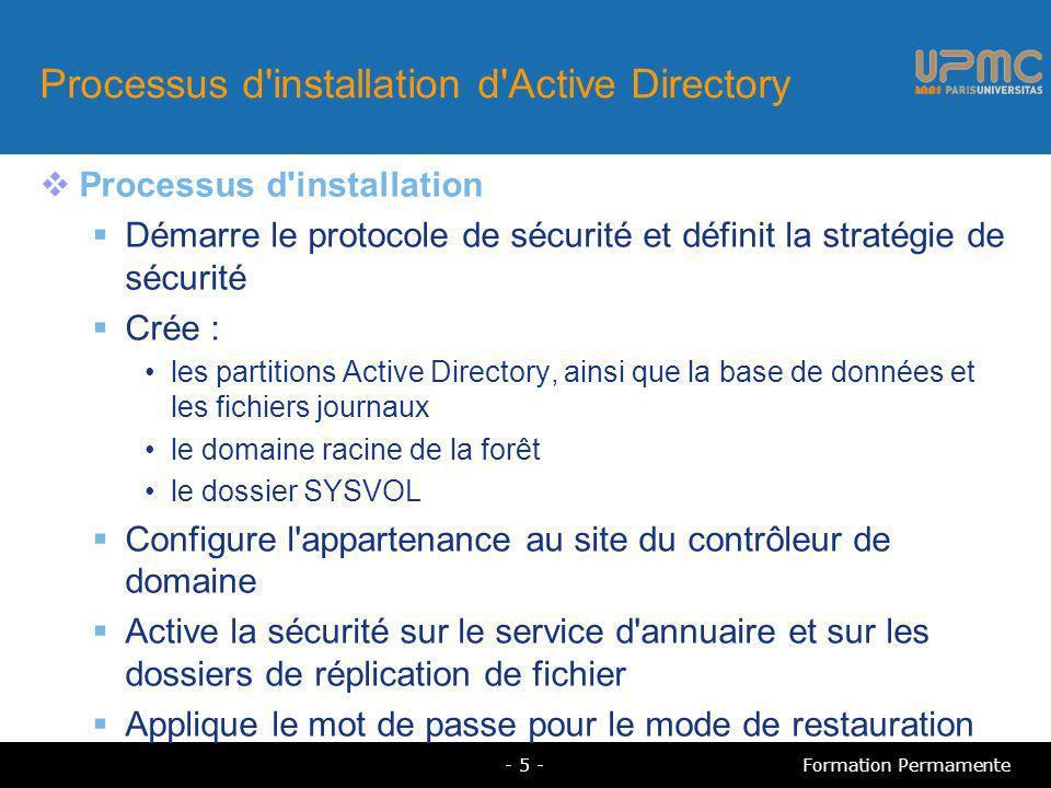 Processus d installation d Active Directory Processus d installation Démarre le protocole de sécurité et définit la stratégie de sécurité Crée : les partitions Active Directory, ainsi que la base de données et les fichiers journaux le domaine racine de la forêt le dossier SYSVOL Configure l appartenance au site du contrôleur de domaine Active la sécurité sur le service d annuaire et sur les dossiers de réplication de fichier Applique le mot de passe pour le mode de restauration - 5 -Formation Permamente